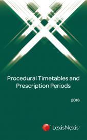 Procedural Timetables and Prescription Periods 2016 cover