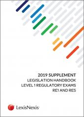 2019 Supplement to the Legislation Handbook for Regulatory Exams RE1/5 cover