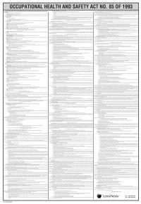 Occupational Health And Safety Act Poster Wet Op Beroepsgesondheid En Veiligheid Plakkaat Lex Patria Lexisnexis Sa
